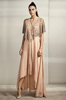 Petal Peach Striped Dress With Attached Cape by Rohit Gandhi & Rahul Khanna