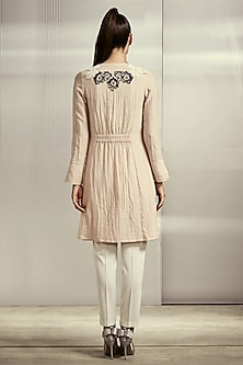 Pink Textured Cotton Jacket by Rohit Gandhi & Rahul Khanna