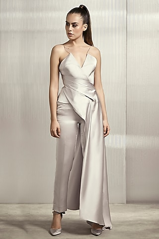 Silver Polyester Satin Top by Rohit Gandhi & Rahul Khanna