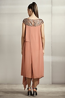Apricot Textured Georgette Tunic by Rohit Gandhi & Rahul Khanna