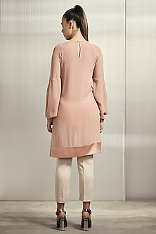 Light Rose Pink Textured Tunic by Rohit Gandhi & Rahul Khanna