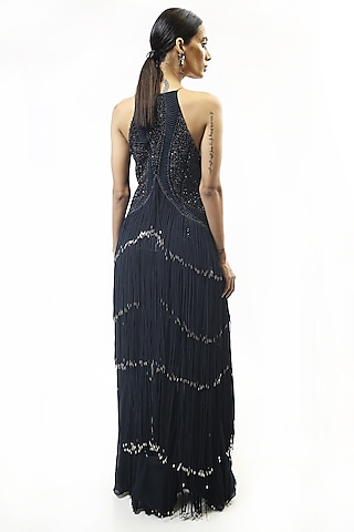 Sapphire Blue Sequins Embellished Gown by Rohit Gandhi & Rahul Khanna