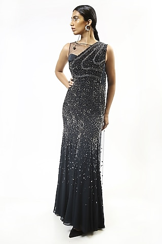 Sapphire Blue Embellished One Shoulder Saree Gown by Rohit Gandhi & Rahul Khanna