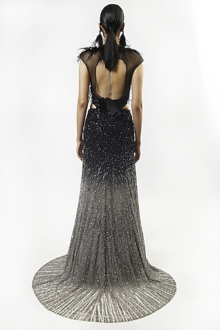 Silver & Black Ombre Crystals Embellished Gown by Rohit Gandhi & Rahul Khanna