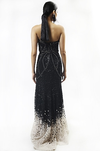 Black Sequins Embellished Gown by Rohit Gandhi & Rahul Khanna