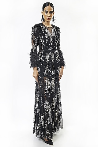 Black Embellished Gown With Feathers by Rohit Gandhi & Rahul Khanna