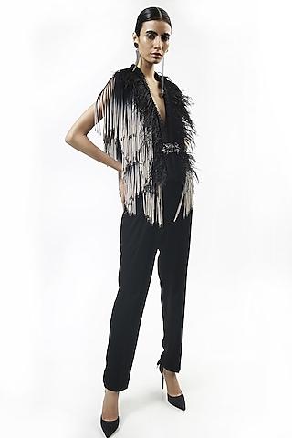 Black Mesh Tasseled Jacket With Feathers by Rohit Gandhi & Rahul Khanna