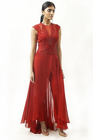 Claret Red Embroidered Jumpsuit by Rohit Gandhi & Rahul Khanna