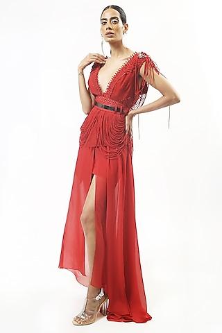 Claret Red Draped Skirt by Rohit Gandhi & Rahul Khanna