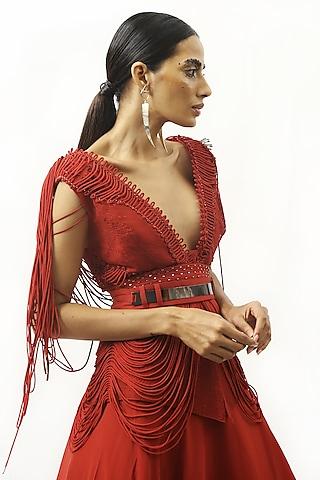 Claret Red Pleated Skirt by Rohit Gandhi & Rahul Khanna