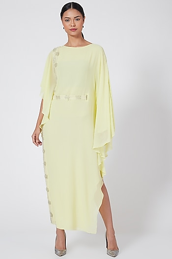 Lime Green Embroidered Gown With Belt by Rohit Gandhi & Rahul Khanna