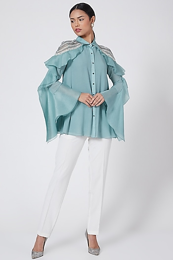 Turquoise Embroidered Shirt by Rohit Gandhi & Rahul Khanna