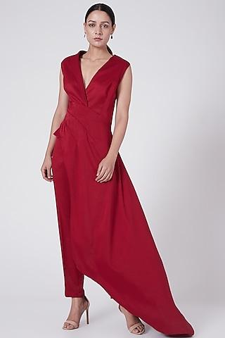 Red Asymmetrical Tunic by Rohit Gandhi & Rahul Khanna