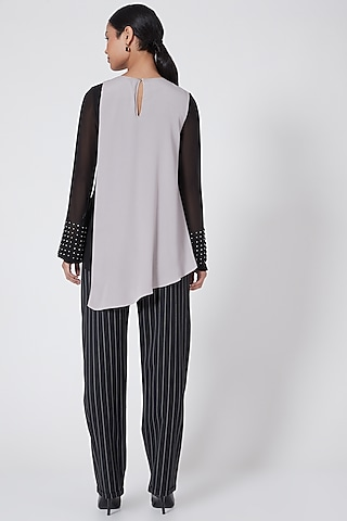 Black Embellished Asymmetrical Top With Color Blocking by Rohit Gandhi & Rahul Khanna