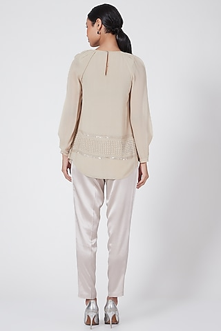 Beige Embroidered Top by Rohit Gandhi & Rahul Khanna