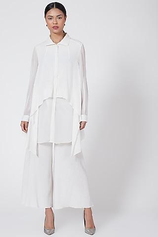 White Asymmetrical Button-Up Shirt by Rohit Gandhi & Rahul Khanna