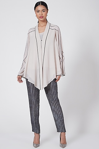 Light Taupe Embroidered Asymmetrical Top by Rohit Gandhi & Rahul Khanna