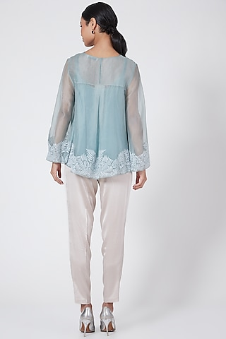 Turquoise Swing Top With Applique Work by Rohit Gandhi & Rahul Khanna