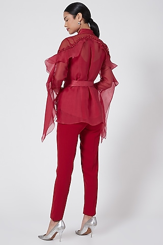 Red Embellished Swing Top by Rohit Gandhi & Rahul Khanna