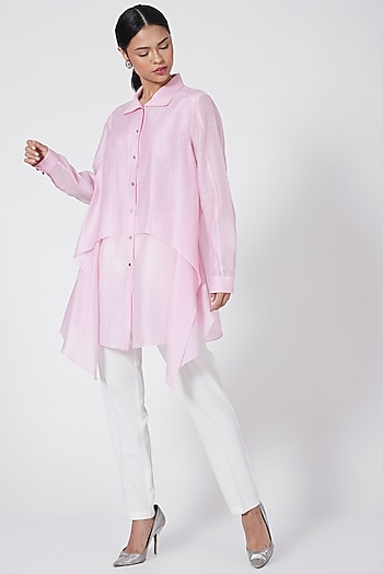 Blush Pink Asymmetrical Shirt by Rohit Gandhi & Rahul Khanna