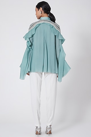 Turquoise Embroidered Button Up Shirt by Rohit Gandhi & Rahul Khanna