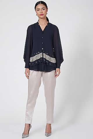 Midnight Blue Embroidered Top by Rohit Gandhi & Rahul Khanna