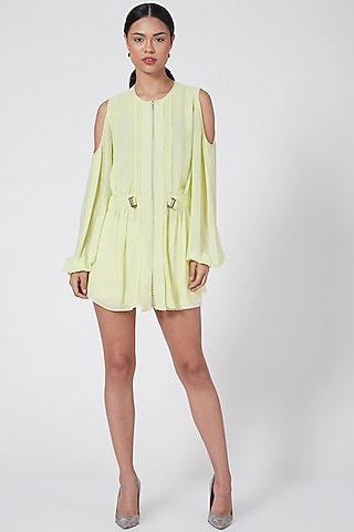 Yellow Top With Cold Shoulder Sleeves by Rohit Gandhi & Rahul Khanna