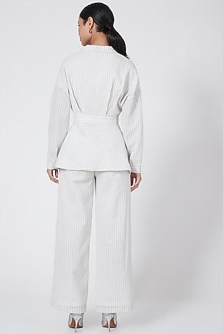 White Pinstriped Overlapped Jacket by Rohit Gandhi & Rahul Khanna