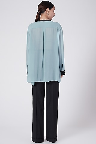 Blue Button-Up Shirt With Contrast Panels by Rohit Gandhi & Rahul Khanna