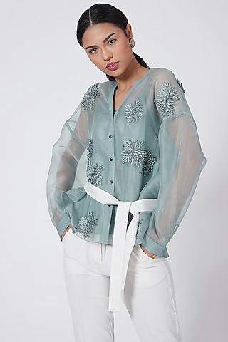 Aqua Blue Embroidered Boxy Shirt by Rohit Gandhi & Rahul Khanna