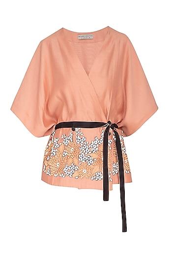 Melon Embellished Kimono Top With Belt by Rohit Gandhi & Rahul Khanna