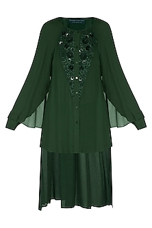 Emerald Embellished High-Low Top by Rohit Gandhi & Rahul Khanna