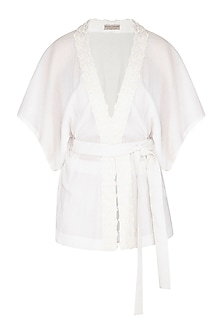 White Embroidered Kimono Top by Rohit Gandhi & Rahul Khanna