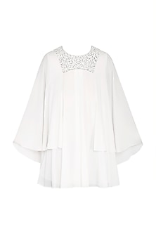 White Embellished Flared Sleeves Top by Rohit Gandhi & Rahul Khanna