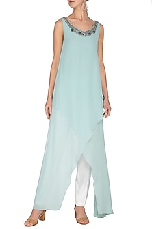 Mint Embroidered Asymmetric Tunic by Rohit Gandhi & Rahul Khanna