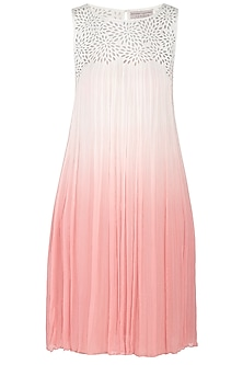 White Embroidered Ombre Dress by Rohit Gandhi & Rahul Khanna