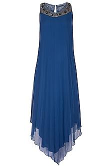 Electric Blue PLeated Dress by Rohit Gandhi & Rahul Khanna
