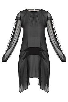 Black Embroidered Sheer Dress by Rohit Gandhi & Rahul Khanna