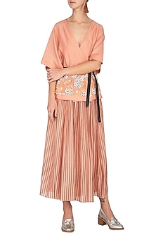 Melon Printed Gathered Skirt With Belt by Rohit Gandhi & Rahul Khanna