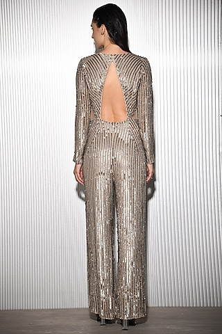 Silver & Gold Embroidered Jumpsuit by Rohit Gandhi & Rahul Khanna