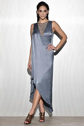 Dark Blue Embroidered Draped Dress by Rohit Gandhi & Rahul Khanna