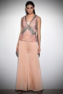 Rose Pink Shimmer Embroidered Jacket by Rohit Gandhi & Rahul Khanna