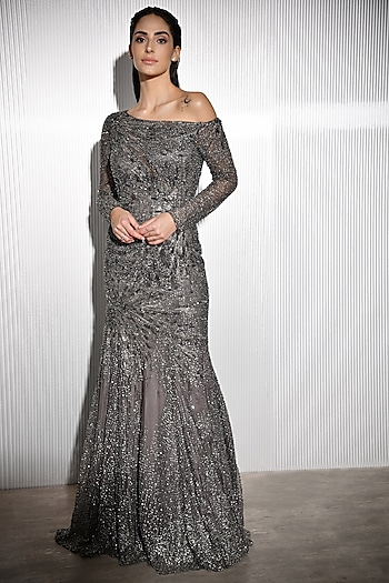 Charcoal Grey Embroidered Gown by Rohit Gandhi & Rahul Khanna