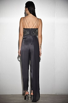 Grey Crystal Embroidered Jumpsuit by Rohit Gandhi & Rahul Khanna