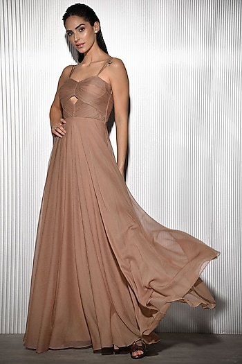 Petal Pink Polyester Gown by Rohit Gandhi & Rahul Khanna