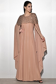 Rose Pink Shimmer Embroidered Gown by Rohit Gandhi & Rahul Khanna