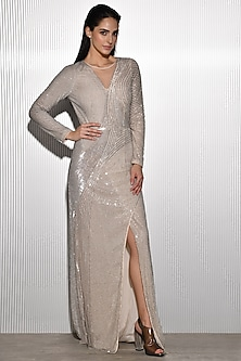 Ivory Sequins Embroidered Gown by Rohit Gandhi & Rahul Khanna
