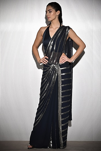 Navy Blue Embroidered Saree Set by Rohit Gandhi & Rahul Khanna