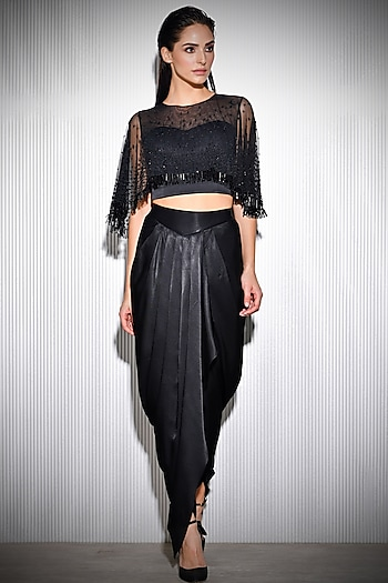Black Embroidered Cape With Draped Trousers by Rohit Gandhi & Rahul Khanna