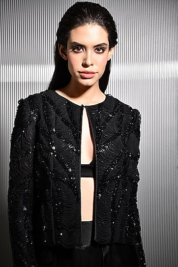 Black Crystal Embroidered Jacket by Rohit Gandhi & Rahul Khanna
